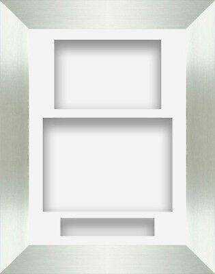 """8.5"""" x 11.5"""" Brushed Silver Portrait Deep Shadow Box Photo Frame 3 Mount"""