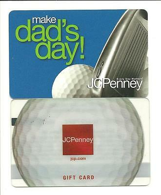 Lot (2) Different JCPenney Golf Gift Cards No $ Value Collectible Dad J C Penney