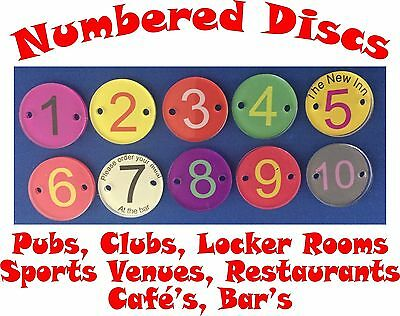 Quality 30mm Number Discs Pubs Clubs Restaurants Cafe's Locker Rooms Sport Venue