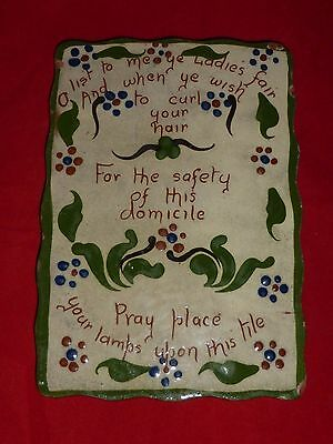 Delightful Antique Watcombe Torquay Ware 'Forget Me Not' Curling Tong Tile c1910