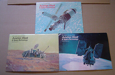 Lot of 3 Vintage Aviation Week & Space Technology Calenders 1975-1977