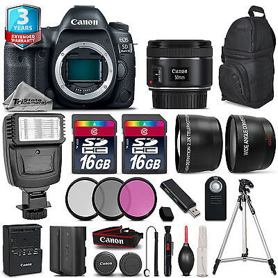 Canon EOS 5D Mark IV Camera + 50mm 1.8 + Flash + 32GB + EXT BATT + 2yr Warranty