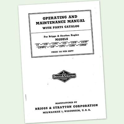 Briggs And Stratton Model 23Bc 23Fb Engine Owners Operators Parts Manual &