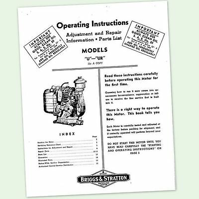 Briggs And Stratton U Ur Engine Owners Operators Repair Part Manual Service Bs