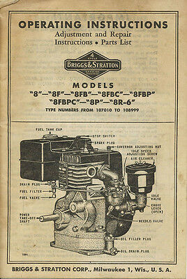 Briggs & Stratton Model 8 Repair Manual Parts Owners Service Operators 8F Bs