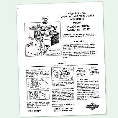 BRIGGS AND STRATTON 5hp ENGINE 141200 To 141297 OPERATING MANUAL OPERATORS Point