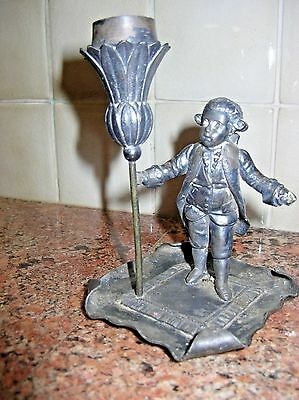 Vintage Silver Plate 1 Candle Holder Figural Courtly Gentleman Silverplate