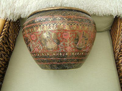 Antique Large Asiatic/oriental Brass Jardinaire.. Highly Decorated..