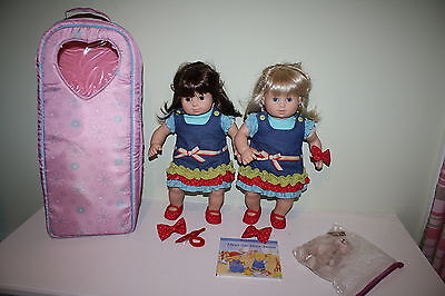 American Girl Bitty Baby Twins Doll Blonde Brunette Meet Outfits Bear Carrier