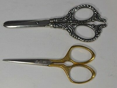 sewing scissors antique sterling silver gold blunt nose 2 pr antique original
