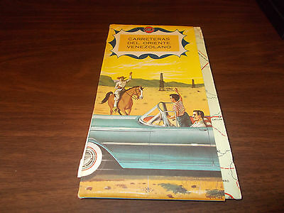 1961 Gulf Venezuela Vintage Road Map / Nice Cover Graphics