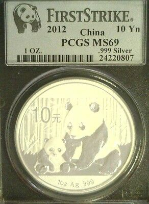 2012 Chinese Panda 10 Yuan 1Oz Silver First Strike Pcgs Ms69    (3603)