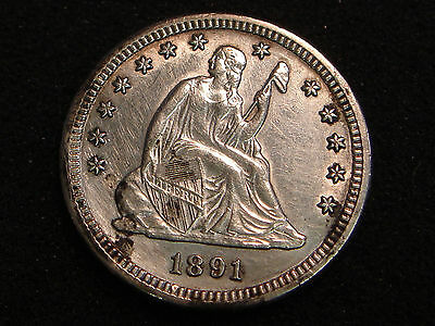 1891-S Seated Liberty Quarter AU-Unc details - obverse cleaned