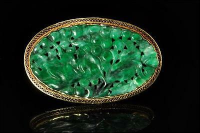 Antique Chinese Carved Deep Green Jadeite Fruit 14K Gold Brooch Pin D2801