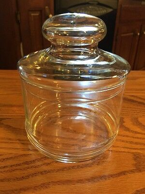 Vintage Clear Glass Apothecary Lidded Jar Candy / Wedding