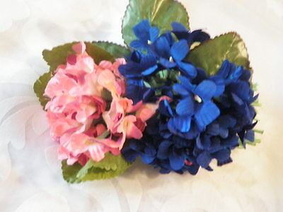 "Vintage Millinery Flower Collection 1"" Coral Pink Deep Blue Violets H1473"