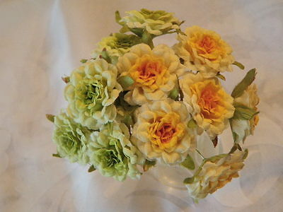 """Millinery Flower Collection 1"""" Blooms Yellow Green Detailed for Hat Hair   H1480"""