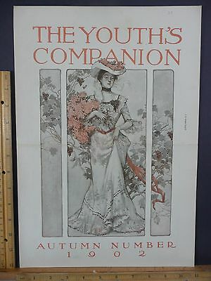 Rare Original Antique 1902 Youth's Companion Autumn Fashion Cover Only Art Print