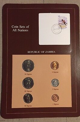 Six Coin Set 1972-1983 Uncirculated REPUBLIC OF ZAMBIA  Coins Of All Nations