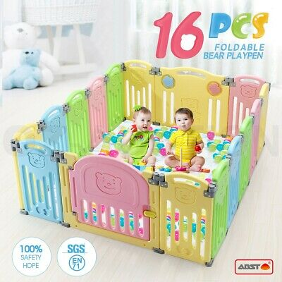 ABST 16 Sided Panel Baby Playpen Interactive  Kids Toddler Baby Room Safety Door