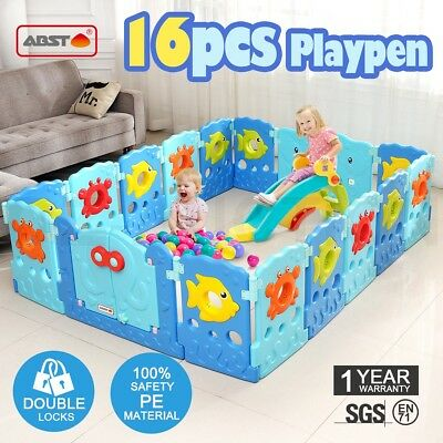 16 Sided Panel Baby Playpen Interactive Kids Toddler Baby Room Safety Gate ABST