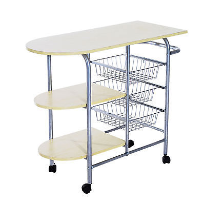 HOMCOM Portable Kitchen Cart Rolling Trolley Multi-Tier Storage Shelf Worktop