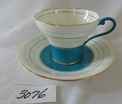 AYNSLEY Bone China Cup & Saucer TEAL Blue & GOLD Bands gold rims