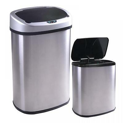 New 13 and 2.4 Gallon Touch-Free Sensor Automatic Stainless-Steel Trash Can 09R