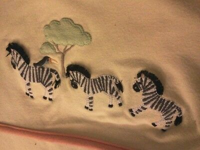 AFRICAN Jungle Room EMBROIDERED ZEBRA PARROT Baby Blanket 2 SIDED Orange YELLOW