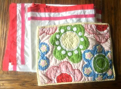 Pottery Barn Kids Nursery Bedding Crib Skirt Red Pink Quilted Flower Pillow Sham