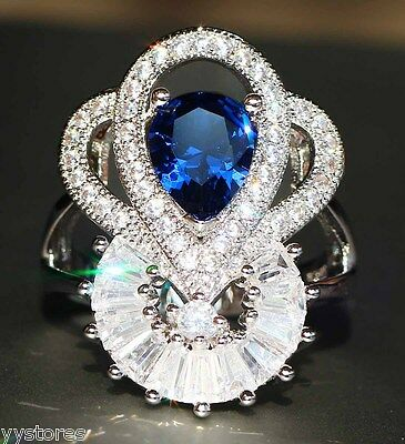 925 silver Filled Blue Sapphire Birthstone Engagement Wedding Loving Gift Ring