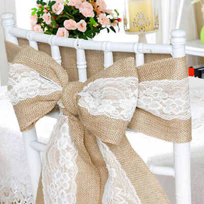 1 10 50 100 Hessian Sash Burlap Chair Sash with Lace Stitched Edge Bows Wedding