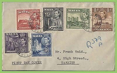 Malta 1943 KGVI six values on plain First Day Cover