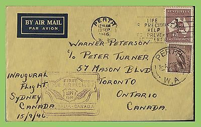 Australia 1946 First Flight Cover, Sydney to Toronto, Canada with cachet