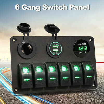 6 Gang Rocker Switch Panel Car Marine Boat Circuit Green Led Breaker + Voltmeter