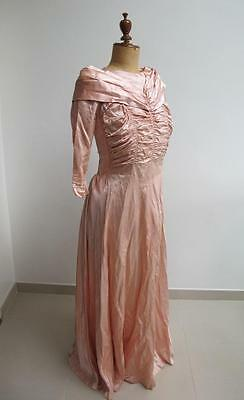 Vintage 1940's WW2 Era Pale Pink Satin Bridal Wedding Bridesmaid Dress Gown