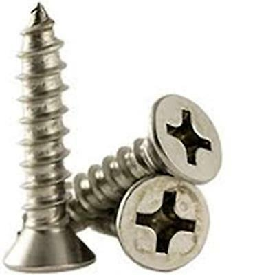"Stainless Steel Flat Head Phillips Sheet Metal Screws #10 X 1-1/2"" Qty-50"