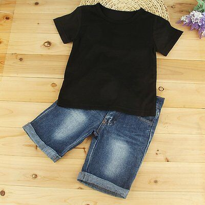 2PCS Toddler Kids Baby Boys Summer T-shirt Tops+Jeans Shorts Outfits Clothes Set