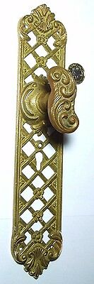 Vintage Brass Door Handles Knobs Rococo Design With Large Backplate