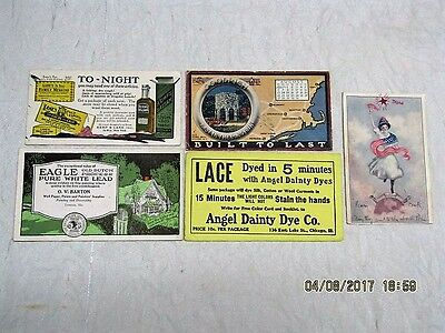 Lot of 5 Antique Advertising Cards / Blotters