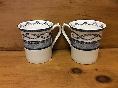 Vintage Blue & White Queen's China - The Royal Palaces - China Mugs X 2