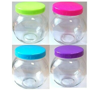 Set Of 4 Leaning Glass Storage Food Sweet Biscuit Jars With Coloured Lids 700ML