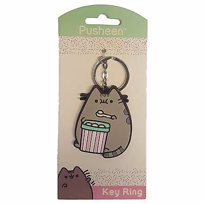 Officially Licensed Pusheen the Cat with Ice Cream Rubber Keyring