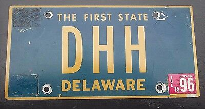 "Delaware Vanity License Plate "" Dhh "" Don Doug David Drew Harris Hart Hill Howe"