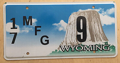 "Wyoming Mfg License Plate "" 17  9 "" Wy Manufacturer  Wyo Campbell Co Low No"