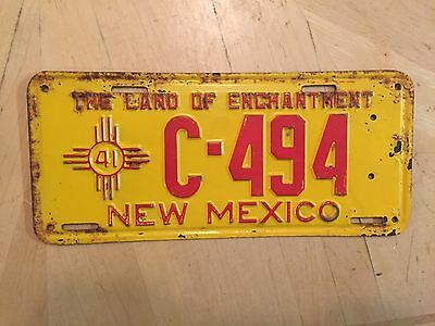 """1941 New Mexico Commercial License Plate  """" C 494 """" Nm 41 Original Condition"""