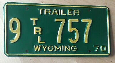 "1970 Wyoming Mint Trailer  License Plate "" 9 757 ""  Wy 70"