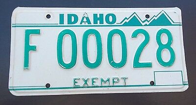 "Idaho Exempt License Plate "" F 00028 ""  Id   Low Number 28"