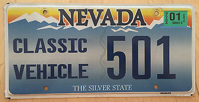 """Nevada Classic Antique Historic Vehicle License Plate """" 501 """" Nv"""