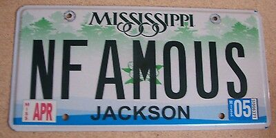 """Miss Vanity License Plate """" Nfamous"""" Infamous Outlaw Bandit Trouble Bad Dude"""